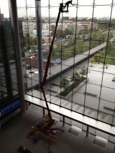 Crawler lift making indoor window washing a breeze